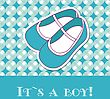 Baby Boy Shower Card With Small Boots On Seamless Pattern And Frame For Your Text