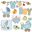 Baby Boy Shower Elements Set Isolated On White Background stock illustration