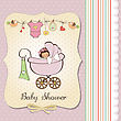 Baby Girl Announcement Card stock illustration