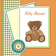 Personal Baby Greeting Card With Sleepy Teddy Bear stock illustration