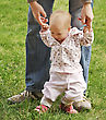 Baby Learn Walking In The Park stock photography