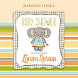 Baby Shower Card With Cute Little Mouse, Vector Format