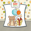 Baby Shower Card With Cute Teddy Bear stock vector