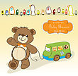 Baby Shower Card With Cute Teddy Bear And Bus Toy stock illustration