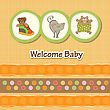 Baby Shower Card With Funny Animals, In Vector Format
