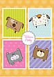 Baby Shower Card With Funny Cube Animals, Vector stock illustration