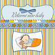 Baby Shower Card With Little Baby Boy Sleep With His Teddy Bear Toy stock vector