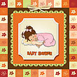 Baby Shower Card With Little Baby Girl Play With Her Teddy Bear Toy stock illustration