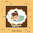 Sleep Baby Shower Card With Little Girl And Her Toy stock vector