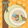 Baby Shower Card With Sleeping Teddy Bear, Illustration In Vector Format