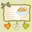 Baby Shower Card With Sleepy Teddy Bear, Vector Illustration stock illustration