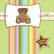 Baby Shower Card With Teddy Bear Toy, Vector Illustration stock illustration
