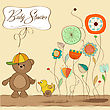 Baby Shower Card With Teddy Bear Toy, Vector Illustration stock vector
