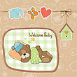 Baby Shower Card With Teddy Bear Toy, Vector Illustration