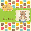 Baby Shower Card With Teddy Bear, In Vector Format