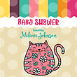 Baby Shower Card Template With Fat Doodle Cat, Vector Format