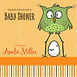 Baby Shower Card Template With Funny Doodle Bird, Vector Format