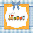 Baby Shower Card With Toy Train, Illustration In Vector Format