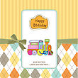 Baby Shower Card With Toy Train, Illustration In Vector Format stock illustration