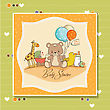 Baby Shower Card With Toys, Vector Illustration