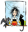 Baby Witch With Black Cat, Raven And Spider Looking Out The Window -color Illustration