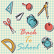 Back To School In Flat Design On Checkered Paper Sheet stock vector