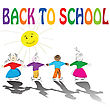 Back To School Illustration With Cute Kids Holding Hands And Smiling Sun stock illustration