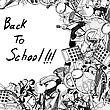 Highschool Back To School Title With Sketch Drawing Frame stock illustration