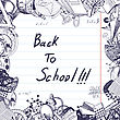Back To School Title With Sketch Drawing Frame On Lined Paper