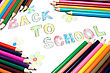 """Back To School"" Text And Color Pencils stock photo"