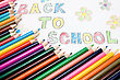 """Back To School"" Text And Color Pencils stock image"
