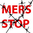 Background Barbed Wire Stop Mers Corona Virus Sign. Vector Illustration stock illustration