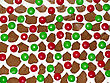 Background Of Colorful Candies Coated Chocolate In Icing On Ginger Bread House stock photo