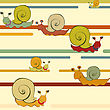 Background With A Crawling Snail In A Retro Style