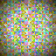 Background With Geometric Shapes, Triangles. Old Mosaic. Colored-mosaic-banner. Geometric Hipster Colorful Pattern With Place For Your Text. Graphic Template Background