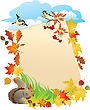 Background With Portrait Frame With Autumn Leafs
