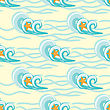 Background Waves And Starfish, Seamless Sea Pattern