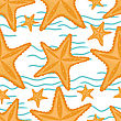 Background With Waves And Starfish, Seamless Sea Pattern stock illustration