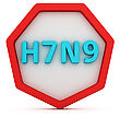 Badge With Bird Flu Subtype Symbols Isolated stock illustration