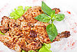 Baked Maize Chicken Meat With Lettuce And Greens Marinated At Mayonnaise, Onion And Kiwi stock photography