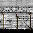 Barbed Wire Fence On Grey Brick Wall Background