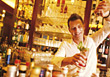 Bartender Pouring Drink, Smiling stock image