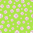 Baseball Seamless Pattern. Sport Background. Balls Isolated On Green Background