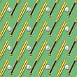 Baseball Sport Inventory Seamless Pattern Isolated On Green Background. Metal Bat And Leather Ball Texture