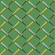 Baseball Sport Inventory Seamless Pattern Isolated On Green Background