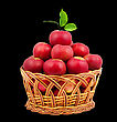 Basket Of Apples Isolated On A Black Background stock photo