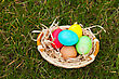 Basket With The Colorful Easter Eggs On The Grass stock image