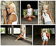 Basketball Girl Collage. Made Of Five Photos stock image