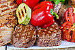 BBQ Meat With Vegetables And Greens Closeup stock image