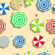 Beach Background Seamless Pattern With Color Umbrellas, Slippers And Toys